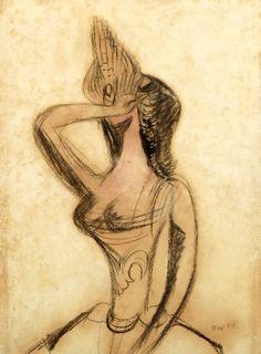 František Tichý - Stydlivá Circus Performers, Siena, Chalk Ink, Artist, Painting, Paper, Design, Catalog, Artists