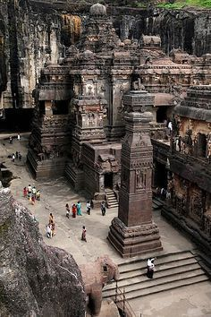 The rock hewn temple on Mt. Kailasa in Tibet (ca. century)Ellora located in the Aurangabad district of Maharashtra, India, is one of the largest rock-cut monastery-temple cave complexes in the world, and a UNESCO Places Around The World, Oh The Places You'll Go, Travel Around The World, Places To Travel, Places To Visit, Around The Worlds, Travel Destinations, Ajanta Ellora, Ajanta Caves