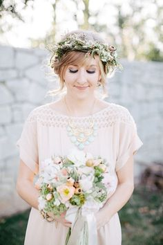 Love this for a newborn shoot Floral crown for a charming vintage Bride. Photography + Design by jendillenderphoto., Event Planning by emb. Flower Crown Wedding, Wedding Hair Flowers, Flowers In Hair, Hair Wedding, Wedding Bangs, Crown Flower, Gown Wedding, Pretty Flowers, Chic Hairstyles