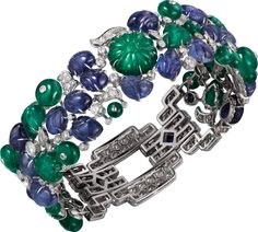 CARTIER. Bracelet - Platinum, sapphires, emeralds, diamonds. #Cartier…