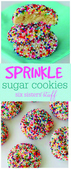 Easy and cute dessert These soft and puffy sugar cookies are covered in sprinkles! The ultimate happy cookie! Sugar Cookies With Sprinkles, Sprinkle Cookies, Sugar Cookies Recipe, Easy Sugar Cookies, Sweet Cookies, Easy Cookie Recipes, Baking Recipes, Sweet Recipes, Pilsbury Recipes