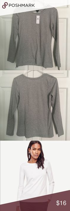 NWT Ann Taylor Pima Cotton Long Sleeve Tee ✔️Crew neck.                                                                   ✔️Long sleeves.                                                              ✔️Small side slits.                                                            ✔️100% refined Pima cotton.                                          ✔️NWT. Ann Taylor Tops Tees - Long Sleeve