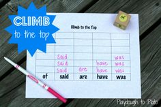 Climb to the Top - Sight Word Game. Going to use this with H's Spelling words! Sight Word Practice, Sight Word Games, Sight Word Activities, Literacy Activities, Spelling Practice, Spelling Activities, Literacy Centers, Kindergarten Reading, Teaching Reading