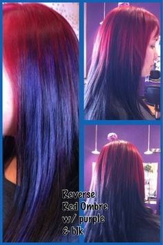 Reverse Ombre w/ red, purple & black