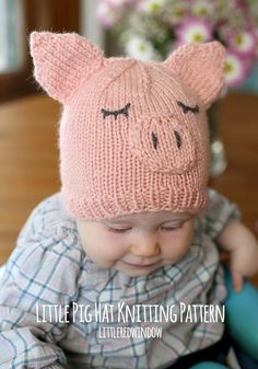 This Little Pig Hat with free printable knitting pattern! | For more easy and free baby knitting ideas, head to http://www.sewinlove.com.au/category/knitting/