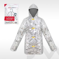 Surviva Jak™ Packaged in Waterproof Vacuum Pack. A heat reflective jacket is designed to prevent hypothermia and shock, whatever the weather. This unique emergency garment folds up to the size of a pack of playing cards.