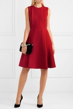 Valentino | Pleated wool and silk-blend crepe dress | NET-A-PORTER.COM