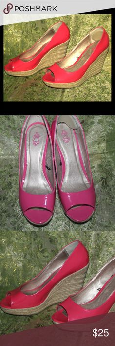 Hot Pink Patent Leather Espadrilles! 11 Wide! Hot Pink patent leather espadrilles just in time for summer! 11W Worn once! Torrid Shoes Espadrilles