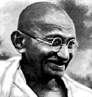 """Mohandas Karamchand Gandhi - pre-eminent political and ideological leader of India during the Indian independence movement. Pioneering the use of non-violent resistance to tyrannical colonial rule through mass civil disobedience, saying, """"I shall resist organized tyranny to the uttermost."""""""