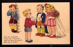 Postal infantil. Refranero Popular. Ediciones de Arte. Serie 43. Circulada