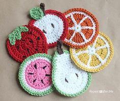 5 Crochet Fruit Coasters: Strawberry, Apple, Orange/Lemon, Pear, Watermelon.