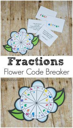 Flower Fractions Code Breaker for Equivalent Fractions Practice - Royal Baloo Fraction Activities, Math Activities For Kids, Spring Activities, Math For Kids, Math Resources, Math Games, Number Activities, Math Strategies, Homeschooling Resources