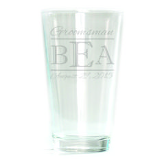 Pub Glass - 16oz - Double Bar Monogram Personalized with Date