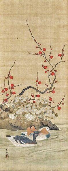 Suzuki Kiitsu (1796-1858) - Rinpa School. Japanese hanging scroll. mandarin ducks & plum