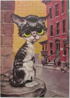 Vintage Gig Keane Cat Big Eyes Pity Kitty Pop Art Poster Print on Cardboard, Antique, Black & White Yellow Eyed Kitten, Alley Cat Kitsch Art, Image Chat, Pop Art Posters, Alley Cat, Puppies And Kitties, Vintage Art Prints, Cat Decor, Mundo Animal, Here Kitty Kitty