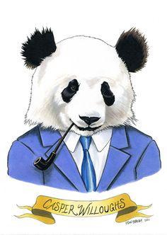 "panda from ryan berkley's ""animals in suits"" series"