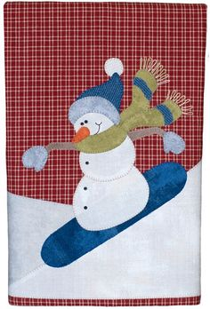 Snowboarding Snowman Patternlet- Tea towel design with micro mini buttons for eyes and coal, and pearl cotton thread stitched for scarf ends Applique Towels, Wool Applique, Applique Patterns, Applique Quilts, Quilt Patterns, Embroidered Towels, Snowman Quilt, Felt Snowman, Snowman Crafts