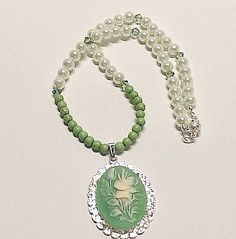 Ivory Flowers Green Cameo Pendant Necklace by Willows3Creations
