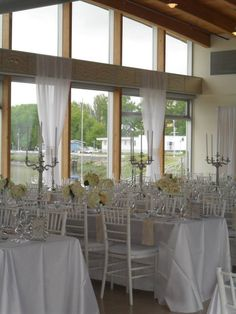 Wedding Reception in Event Hall | Window Draping | Elegant Tablescapes | Rectangular Guest Tables | John M.S. Lecky UBC Boathouse