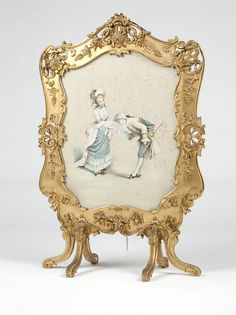A French giltwood hand-painted fire screen
