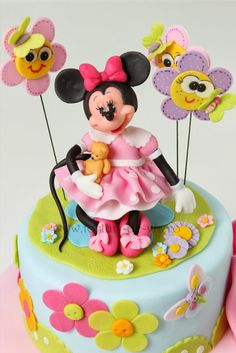 This domain may be for sale! Mickey And Minnie Cake, Bolo Minnie, Mickey Cakes, Minnie Mouse Cake, Baby Mickey, Mini Tortillas, Art Deco Cake, Cake Art, First Birthday Cakes