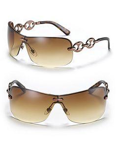 0b0ea20ec3029 Gucci Rimless Shield Sunglasses with Chain Link Design