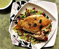 crispy spiced chicken with hummus vinaigrette and couscous with pistachios and pomegranate