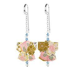 Pink & gold origami drop earrings