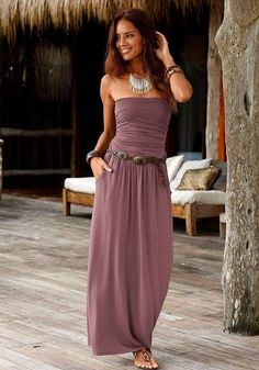 LASCANA maxi dress with slim top - Kleidung - Summer Dress Outfits Summer Dress Outfits, Summer Dresses For Women, Spring Outfits, Dress Summer, Look Fashion, Fashion Outfits, Woman Fashion, Fashion Trends, Outfit Trends