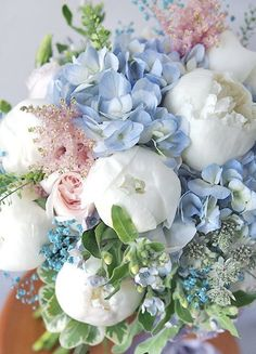Blue and White Flower Arrangement. White peonies and Blue hydrangeas go perfectly together in this classic floral design. Would be great for a baby shower, christening, or sip n see. Traditional Baby Boy Shower Inspiration with Old Southern Charm Amazing Flowers, My Flower, Fresh Flowers, Spring Flowers, Beautiful Flowers, Beautiful Bouquets, Flower Types, Orchid Flowers, Pastel Flowers