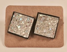 RAINBOW CLEAR square faux druzy stud earring
