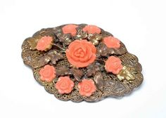 Victorian Brooch with Coral Roses of Celluloid by VintagebyViola, $90.00