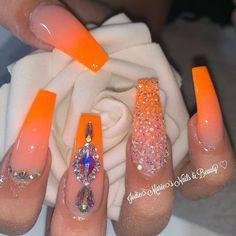 Orange acrylic nails with rhinestones Orange Acrylic Nails, Bling Acrylic Nails, Glam Nails, Best Acrylic Nails, Rhinestone Nails, Bling Nails, Neon Orange Nails, Exotic Nails, Homecoming Nails