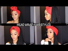 Style - EASY HEAD WRAP INDIVIDUAL CROCHET BRAIDS HAIRSTYLES | SENEGALESE TWIST AND BOX BRAIDS | NO CORNROWS - YouTube