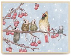 Mouse House mice singing during the holidays