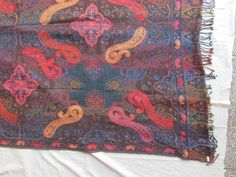 BOILED WOOL SHAWL PAISLEY HAND EMBROIDERY DESIGN JAMAWAR CASHMERE THROW BED 3988