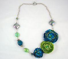 Blue and Chartreuse Flower Fabric Necklace, Unique Jewelry. $53.00, via Etsy.