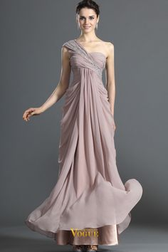 2013 Prom Dresses Sheath/Column Floor Length Champagne One Shoulder Chiffon USD 152.00 PPYRE1GX - VoguePromDresses