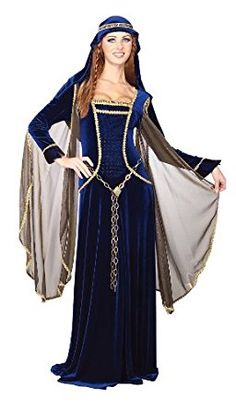 Our Womens Renaissance Queen Costume includes the dark blue dress with matching headpiece and gold chain looking belt. The dress is accented with gold colored trim. This costume is perfect for any medieval themed party or Halloween. Renaissance Costume, Medieval Costume, Renaissance Clothing, Medieval Dress, Renaissance Fair, Cool Costumes, Adult Costumes, Costumes For Women, Halloween Costumes