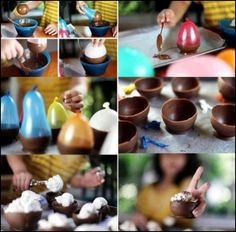 Creative ideas- chocolate egg halves! Stuff with whatever you desire!