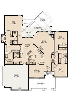 First Floor Plan of House Plan 56352