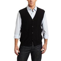 Perry Ellis Men's Solid Textured Vest, Black, X-Large (Apparel)