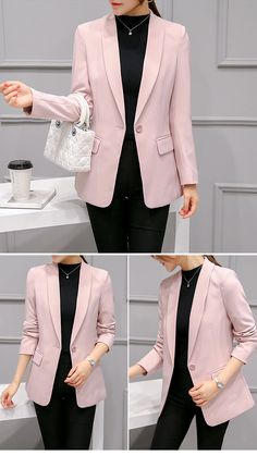 Chic Pink Blazer Coat : Chic Pink Blazer Coat on Luulla Pink Blazer Outfits, Casual Work Outfits, Blazer Dress, Work Casual, Blazer Jacket, Pink Blazers, Black Blazers, Fall Outfits, Look Blazer