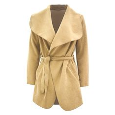 Short Oversized Waterfall Belted Coat ($16) ❤ liked on Polyvore featuring outerwear, coats, lace coat, belted coat, beige coat, belt coat and faux coat