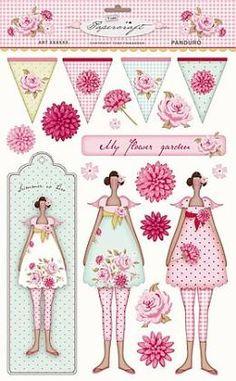 Panduro Hobby - Tilda cut out Flower garden Shabby Vintage, Vintage Paper, Kirigami, Scrapbook Cards, Scrapbooking, Panduro Hobby, Decoupage, Paper Dolls, Art Dolls