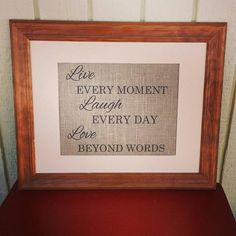 Burlap Print  Live Every Moment Laugh Every Day by BurlapBlondie