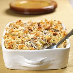 Chicken Tetrazzini : This recipe combines cooked vermicelli, chicken, and mushrooms with a rich sherry–Parmesan cheese sauce. The mixture is sprinkled with breadcrumbs and Parmesan cheese and baked until bubbly and golden.