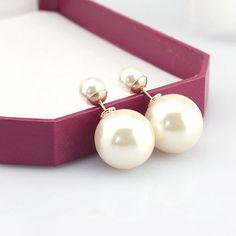 White fashion double pearl earrings