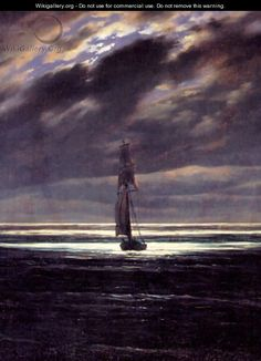 Learn more about Seascape in the Moonlight (ca. Caspar David Friedrich - oil artwork, painted by one of the most celebrated masters in the history of art. C D Friedrich, Caspar David Friedrich Paintings, Casper David, Lord Jim, Art Reproductions, Oeuvre D'art, Les Oeuvres, Moonlight, Renaissance