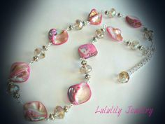 Shell Necklace. Wire Wrapped Crystal Necklace by LuluLilyJewelry